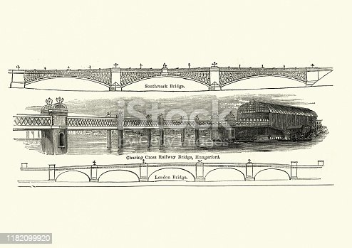Vintage engraving of Victorian architecture, Bridges, Charing cross railway, Southwark, London 19th Century