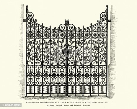 Vintage engraving of Victorian architecture, Wrought iron entrance gates to Pavilion of the Prince of Wales, Paris Exhibition, 1870s, 19th Century.