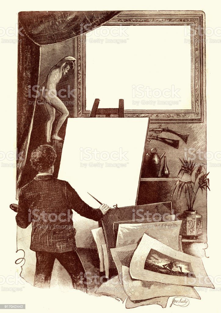 Victorian artist with a blank canvas, 19th Century vector art illustration
