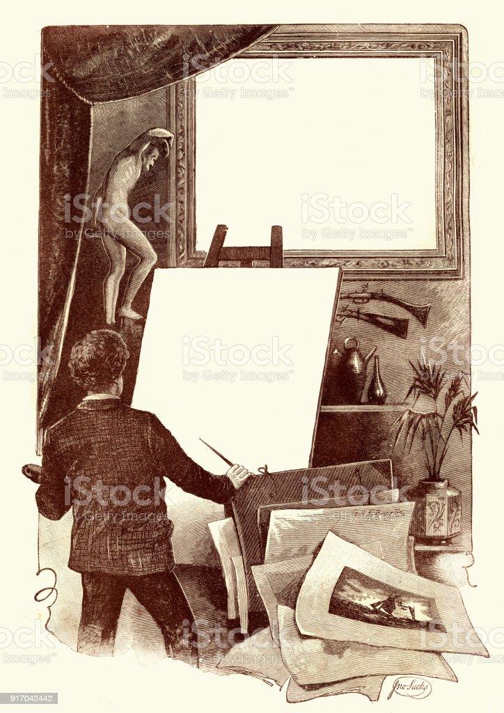 Victorian artist with a blank canvas, 19th Century векторная иллюстрация