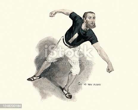 Vintage illustration of Victorian athletics runner on his marks to run, 19th Century
