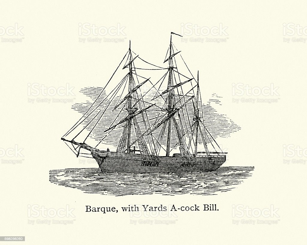 Victorian Barque, with yards A-cock Bill vector art illustration