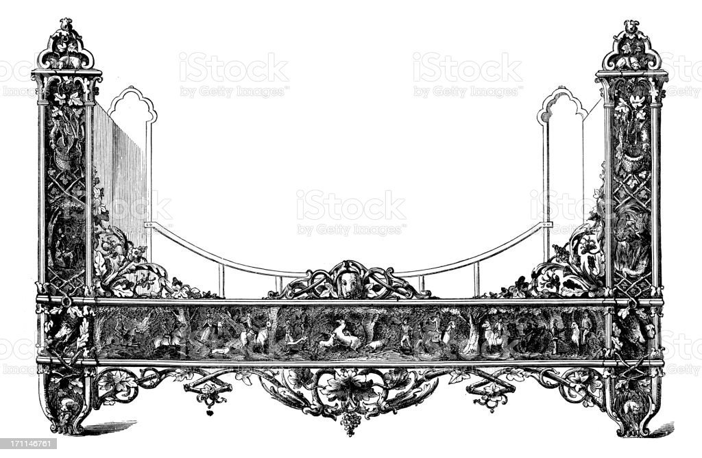 Victorian Bed | Antique Design Illustrations royalty-free stock vector art