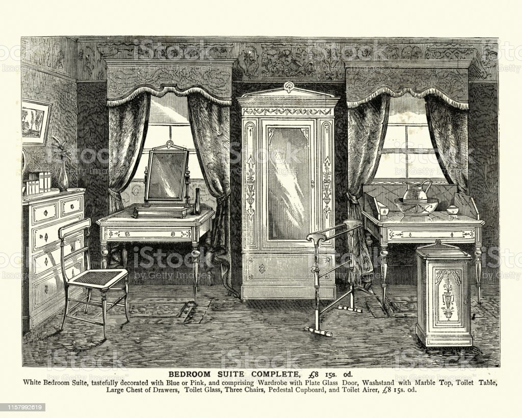 Victorian Bedroom Furniture Wardrobe Washstand Drawers 19th