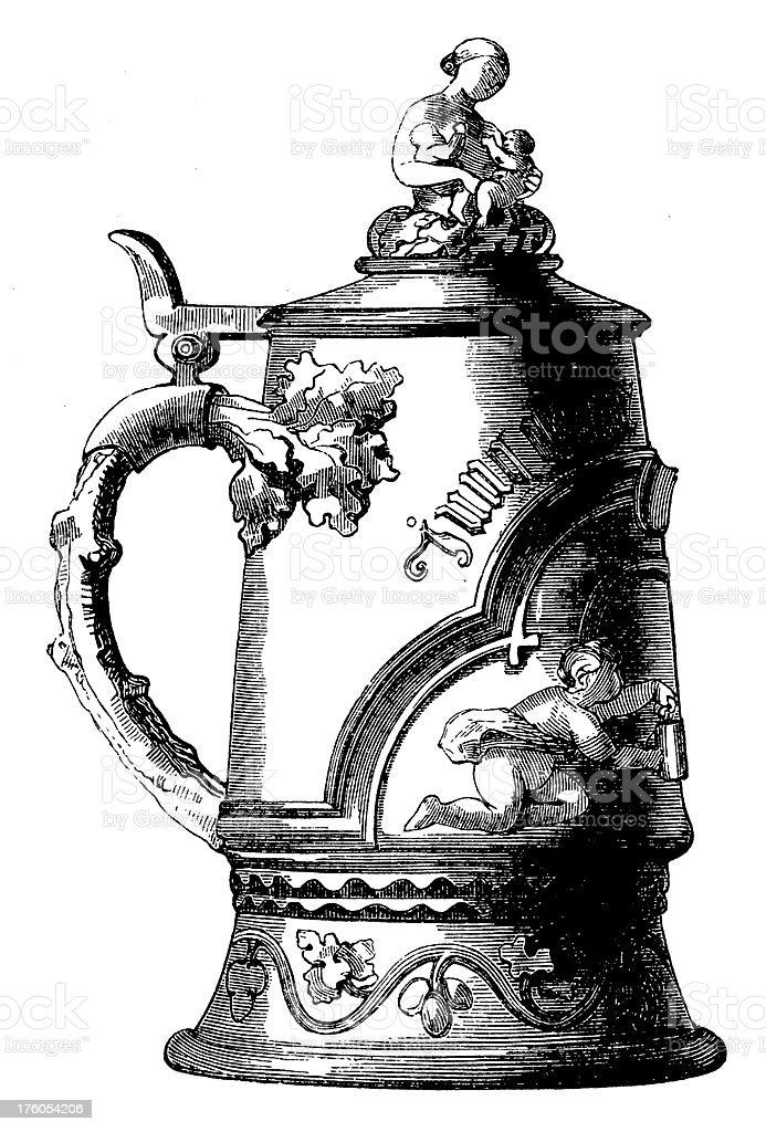 Victorian Beer Mug   Antique Food Illustrations vector art illustration