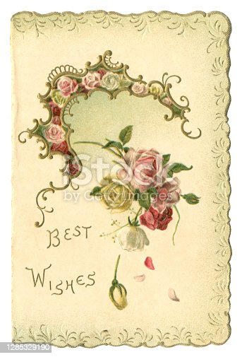 istock Victorian 'Best Wishes' card with scalloped edge, 1899 1285329190