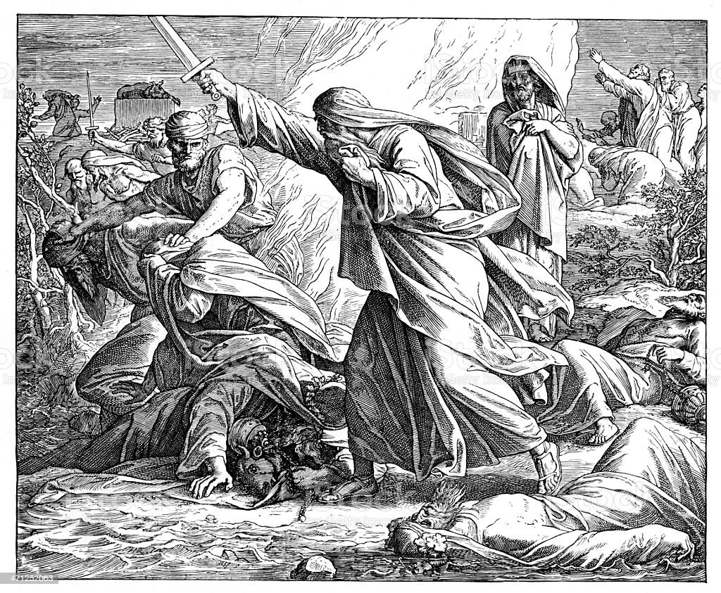 Victorian bible illustration Elijah and the prophets of Baal vector art illustration