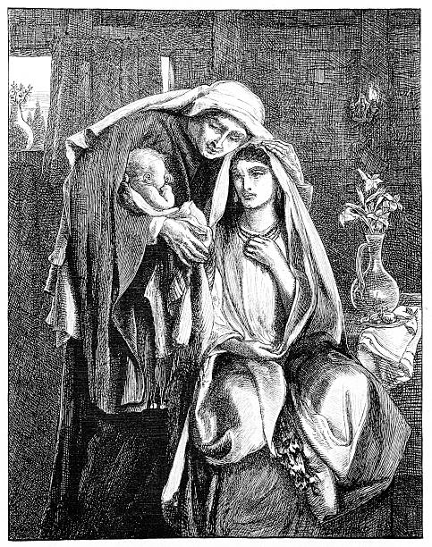 victorian biblia ilustracja: ruth, naomi i dziecko obed - ruth stock illustrations