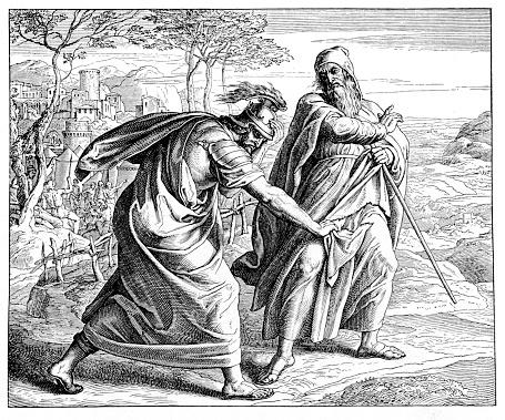 Victorian bible illustration Samuel rebukes Saul for sparing King Agag