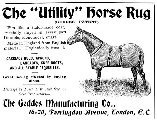Victorian black and white advertisement for a horse rug; Military life on the move ; The Navies & Armies of the World 1898 vector art illustration