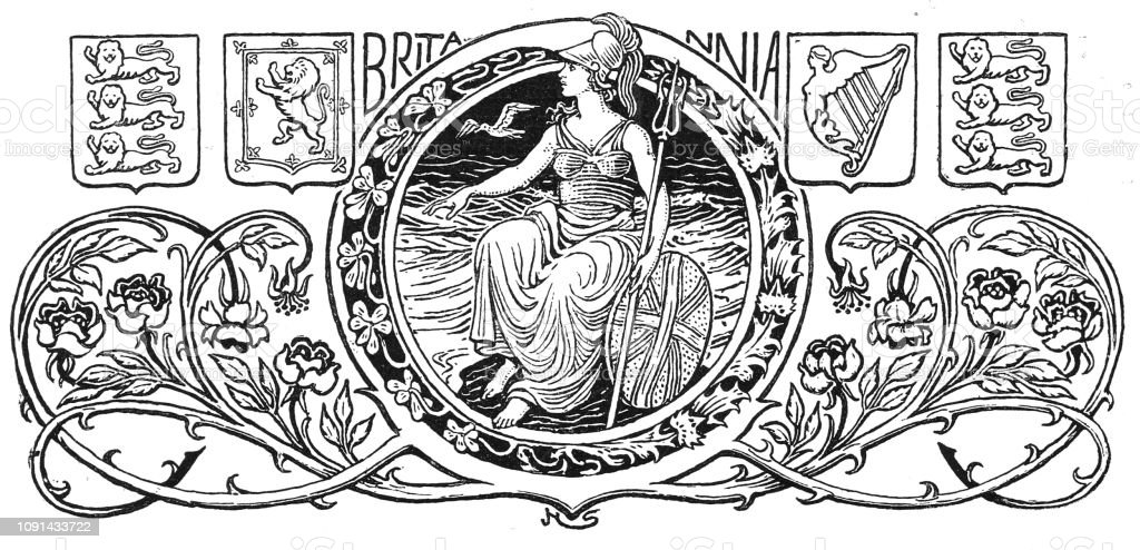 Victorian black and white decorative page heading engraving of Britannia on her throne surrounded by crests and heraldic symbols; English Illustrated 1892 vector art illustration