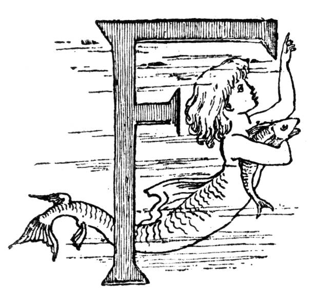 Victorian black and white dripped initial capital letter F with mermaid; English Illustrated Magazine 1892 vector art illustration