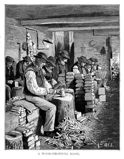 Victorian black and white  engraved portrait of  elderly men sat in a workhouse chopping wood entitled