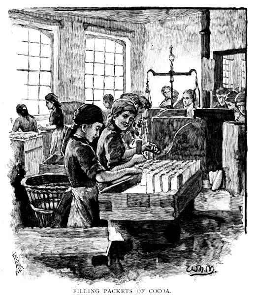 Victorian black and white engraved portrait of women packing chocolates in a sweet factory Bristol; 19th century sweet making; English Illustrated 1892 vector art illustration