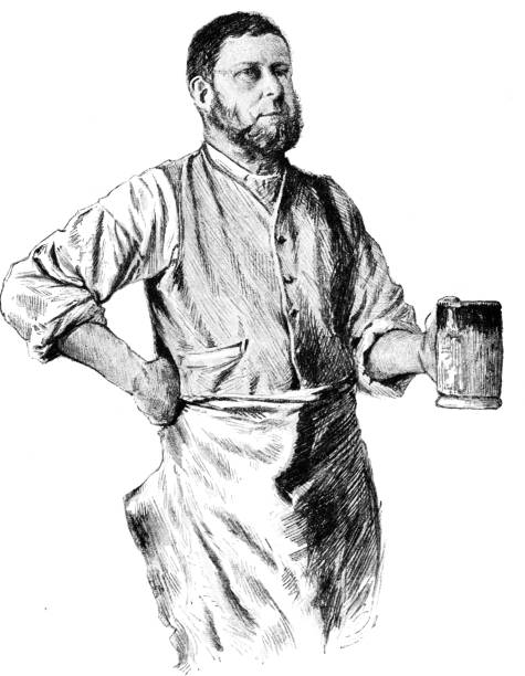 Victorian black and white engraving of a blacksmith in his work clothes and apron with a pint tankard in his hand; 19th century portraits of working folk by J W Couldery; English Illustrated 1892 vector art illustration
