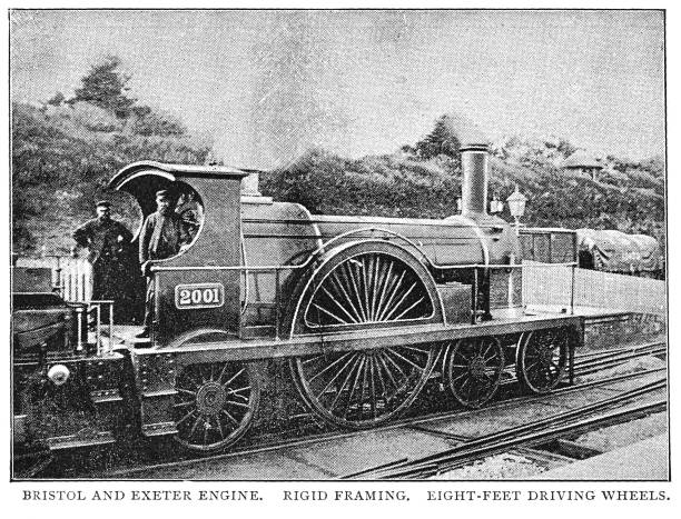 Victorian black and white engraving of a Bristol and Exeter steam engine Broad Gauge British 19th century railways; English Illustrated 1892 vector art illustration