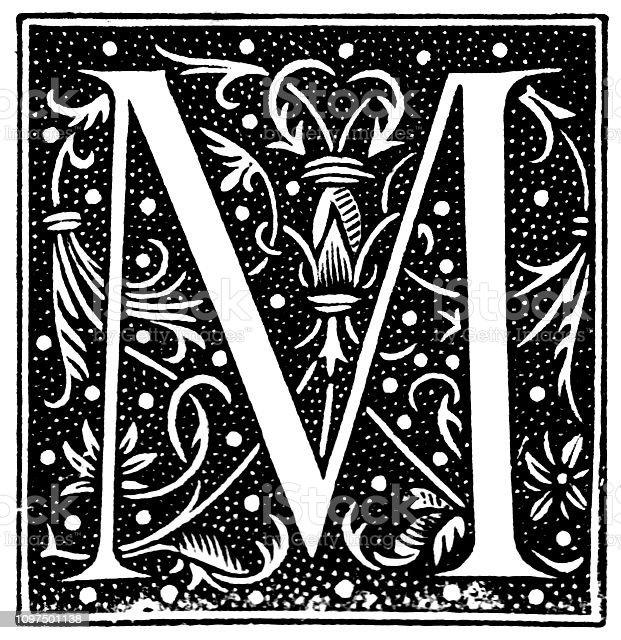 c6f65b85f4fe Victoriana grabado blanco y negro de una caída mayúscula inicial M que  representa estilizada follaje sobre