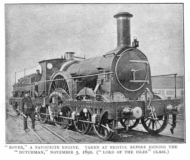 Victorian black and white engraving of a steam engine Rover from the Iron Duke Class Broad Gauge British 19th century railways; English Illustrated 1892 vector art illustration
