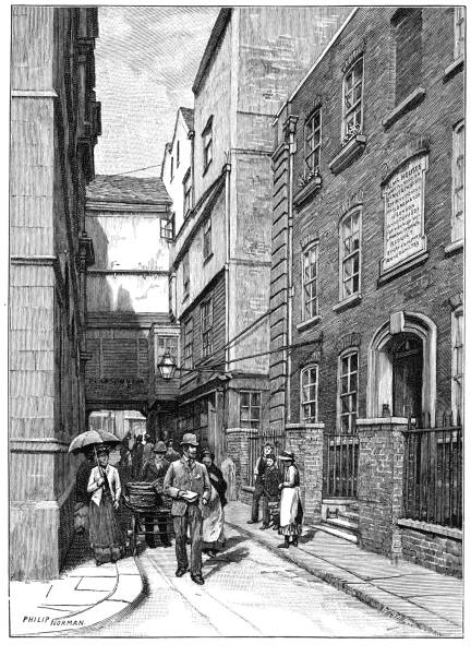 Victorian black and white engraving of the entrance to Great St Helen's London; Vanished streets and houses; English Illustrated Magazine 1892 vector art illustration