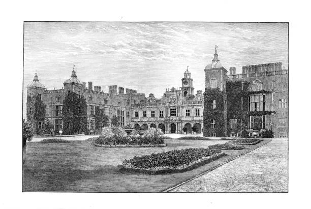 Victorian black and white engraving of the south front of Hatfield House Hertford England; English Illustrated Magazine 1892 vector art illustration