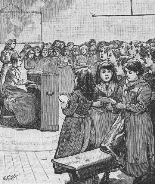 Victorian black and white engraving of young girls stood around a piano singing hymns; 19th century schools/orphanages; The Quiver 1888 vector art illustration