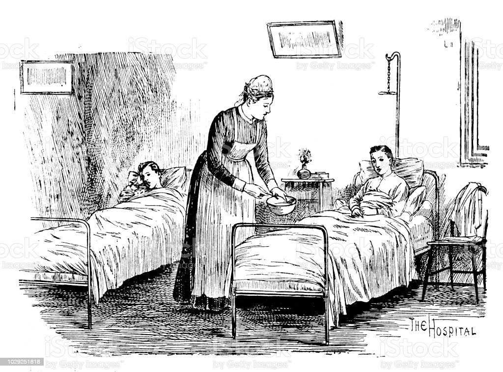 Victorian black and white  engravings of a nurse tending a boy patent laid in bed from the Gordon Boys Home; Boys Own Paper 1892 vector art illustration