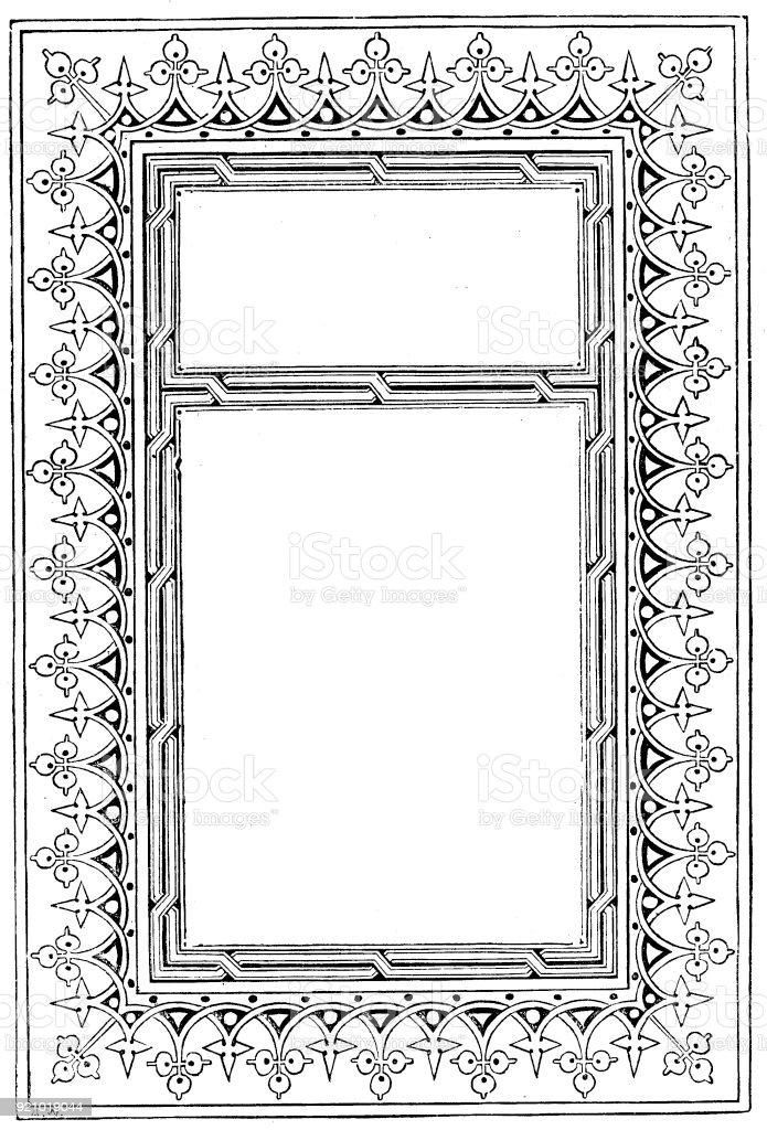 Viktorianische Schwarz Weiß Beleuchteten Rahmen Seitenvorlage Feb102 ...
