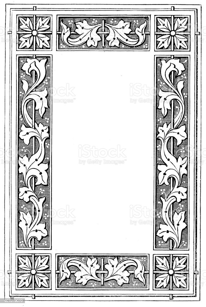Victorian black and white illuminated page frame style Feb112 with empty text boxes; 19th century ornate page decoration 1866 vector art illustration