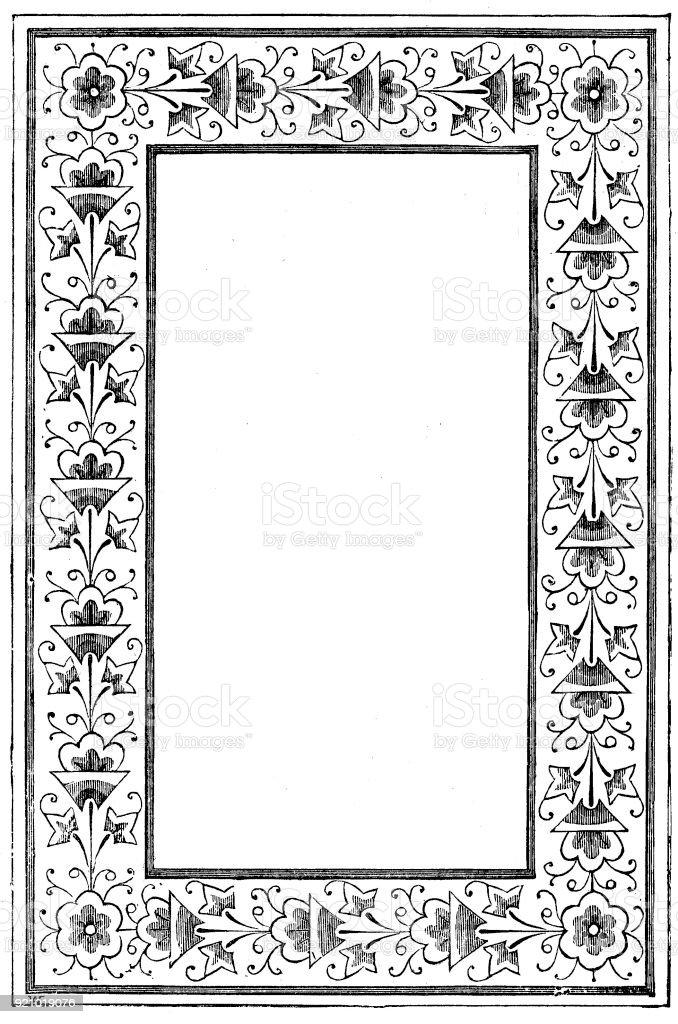 Viktorianische Schwarz Weiß Beleuchteten Rahmen Seitenvorlage Feb122 ...