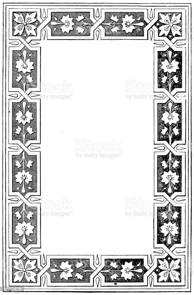 Viktorianische Schwarz Weiß Beleuchteten Rahmen Seitenvorlage Feb172 ...