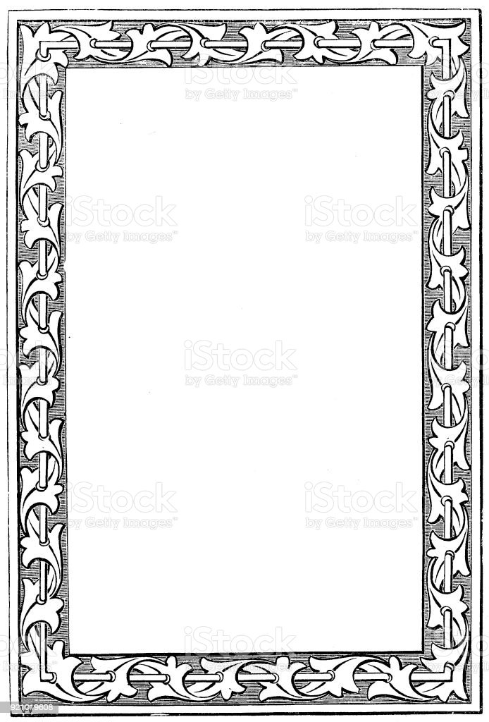 Victorian black and white illuminated page frame style Feb292 with empty text boxes; 19th century ornate page decoration 1866 vector art illustration