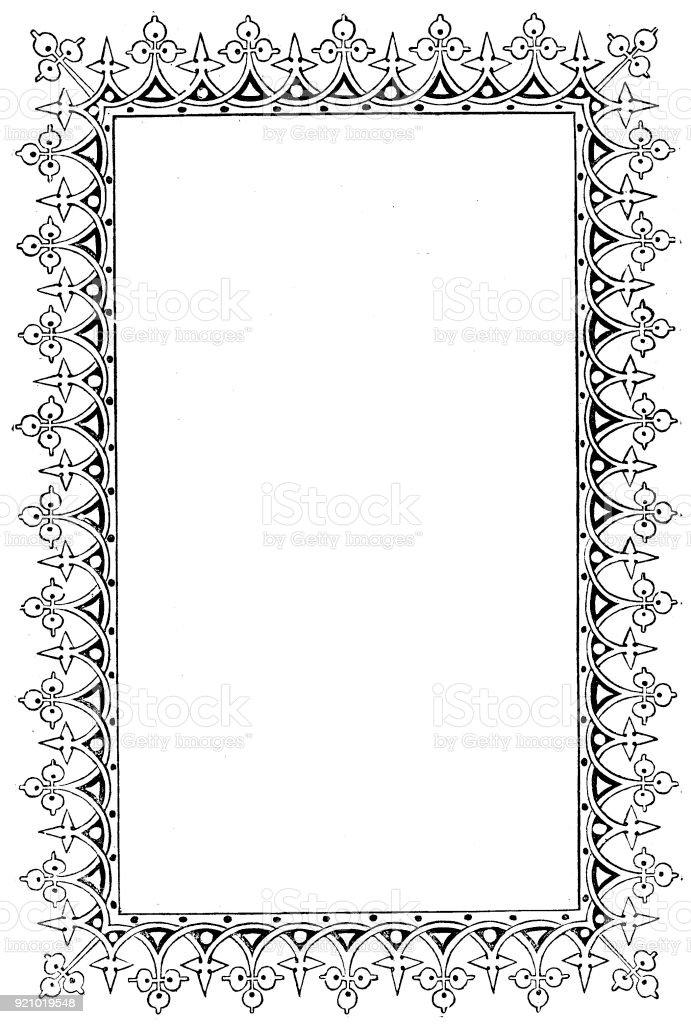 Viktorianische Schwarz Weiß Beleuchteten Rahmen Seitenvorlage Feb312 ...