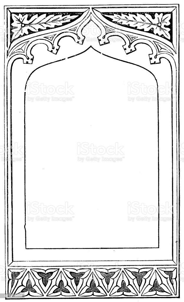 Viktorianische Schwarz Weiß Beleuchteten Rahmen Seitenvorlage Feb322 ...