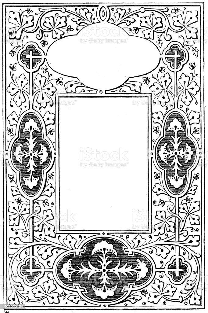 Ilustración de Estilo De Marco De Página Iluminada Y Negro ...