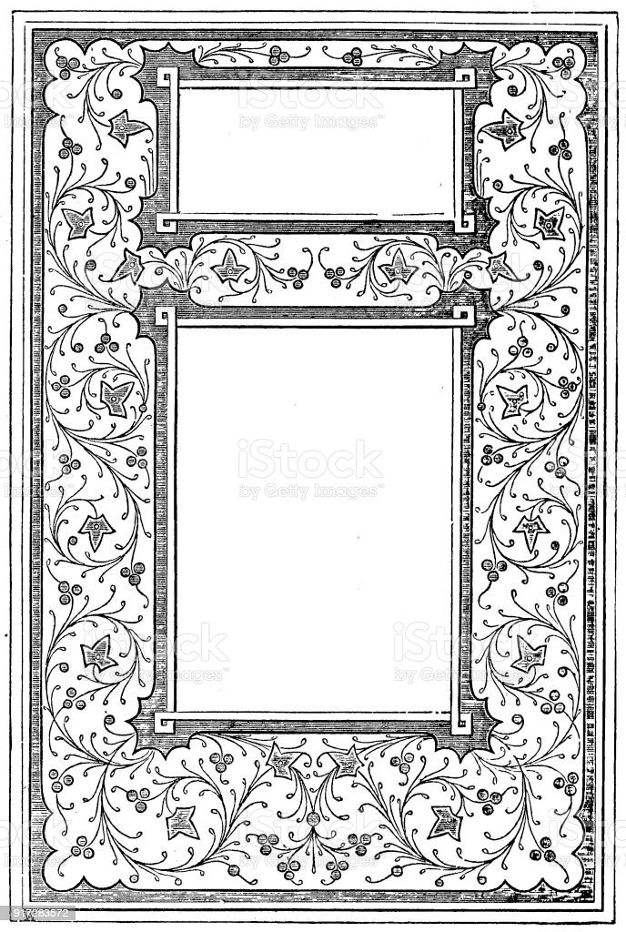 Victorian Black And White Illuminated Page Frame Style Jan 15 With ...