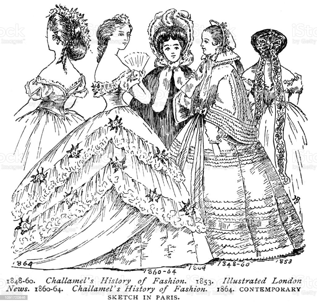 victorian black and white illustration of ladies fashion of the Rococo Men's Fashion victorian black and white illustration of ladies fashion of the 1850s and 1860s 19th century womens clothing english illustrated 1892 stock vector art