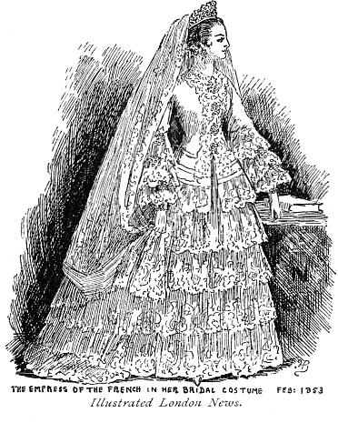Victorian black and white illustration of the Empress of France in her bridal gown 1853; 19th century wedding dress ; English Illustrated 1892