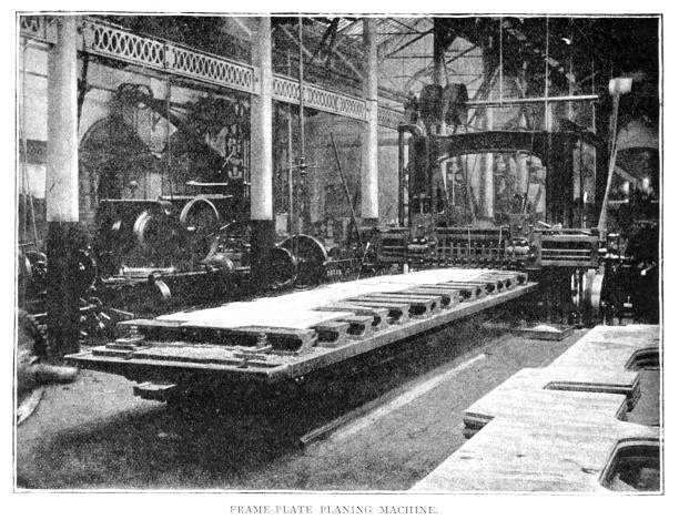 Victorian black and white illustration of the frame-plate planing machine at the Swindon workshop of the Great Western Railway; 19th century steam train manufacturing; English Illustrated 1892 vector art illustration
