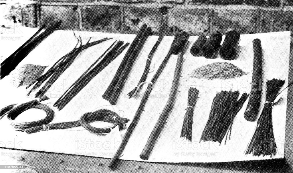 Victorian Black And White Illustration Of Tools Used For Dealing