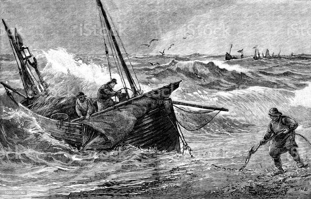 Victorian black and white print entitled The Last Catch of the Year by artist W H Borrow; depicts a fishing boat coming ashore landing their catch; Boys Own Paper 1892 vector art illustration