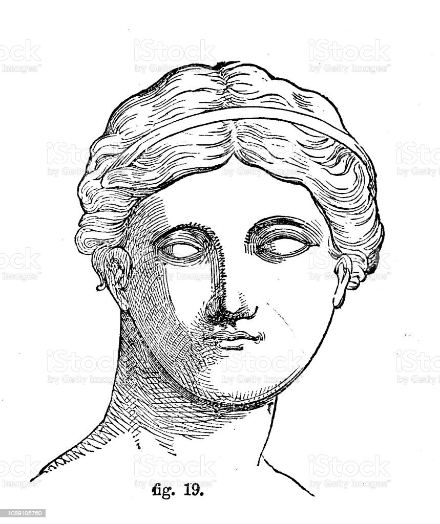 Victorian Black And White Simple Line Drawing Of A Classic Grecian Face Showing How To Shadedrawing And Shading Techniques For Anatomy From The Selfaid Cyclopedia By Robert Scott Burn 1860 Stock Illustration
