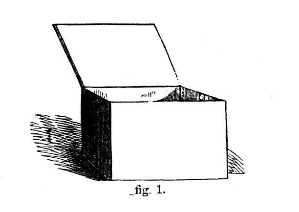 Victorian black and white simple line drawing of a wooden box showing how to shade;Drawing and shading techniques from The Self-Aid Cyclopedia by Robert Scott Burn 1860. vector art illustration