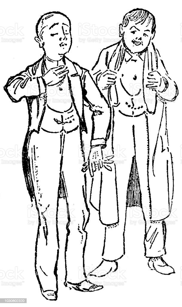 Victorian black and white sketch of two adolescent boys in their best dress tail coats and wealth; Boys Own Paper 1892 vector art illustration