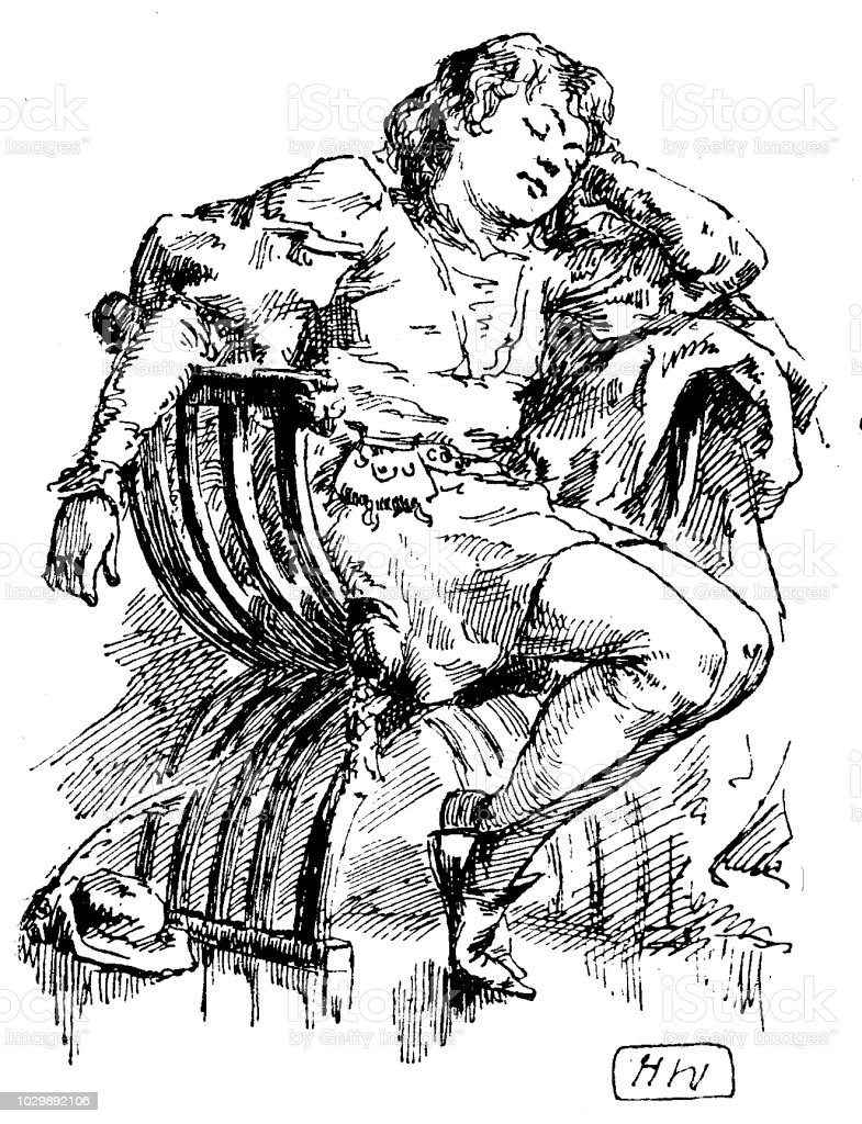 Victorian black and white story illustration depicting a young boy asleep in a chair wearing clothes from the middle ages; Boys Own Paper 1892 vector art illustration