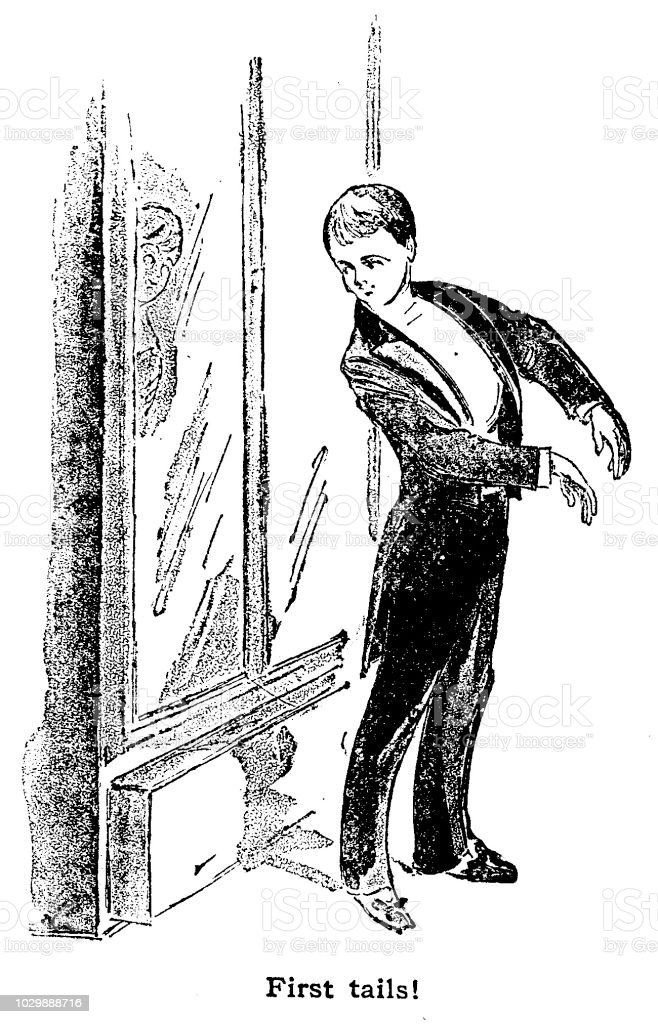 Victorian black and white story illustration depicting a young man in his first tail coat ready for a party; Boys Own Paper 1892 vector art illustration