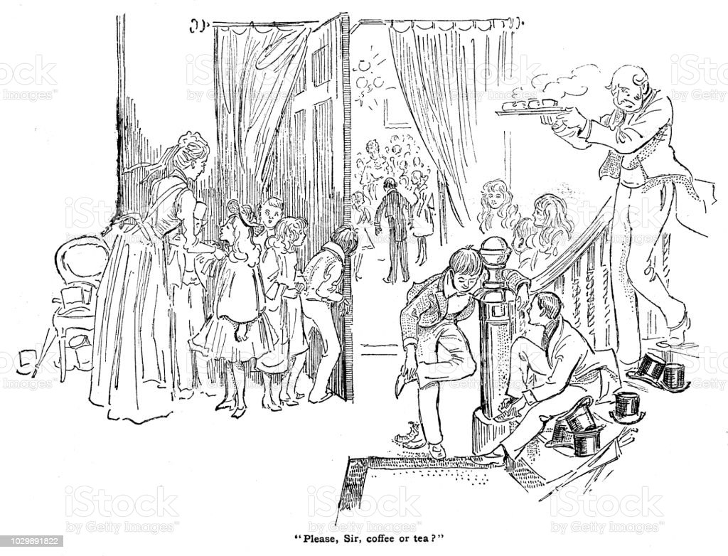 Victorian black and white story illustration depicting wealthy young people at their first social event wearing posh dresses and top hats; Boys Own Paper 1892 vector art illustration