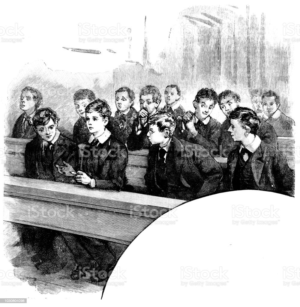 Victorian black and white story illustration of wealthy school boys sat at their desks in a classroom ; Boys Own Paper 1892 vector art illustration