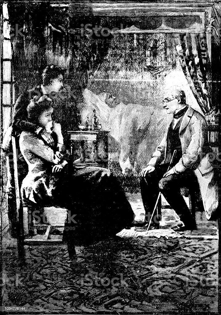 Viktorianische Schwarzweiß Geschichtenerzählen Abbildung Von Drei Personen  Saßen Am Bett Eines Sterbenden 19 Jahrhunderttod Und Trauer Jungen Eigenes  ...
