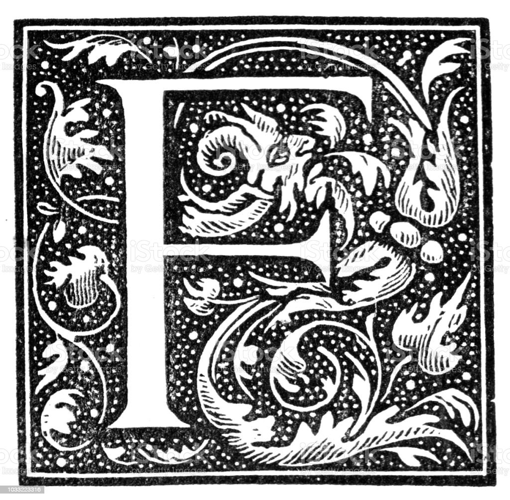 Victorian black and white styalised foliage dropped initial capital letter F within a frame; English Illustrated Magazine 1892 vector art illustration