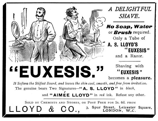 Victorian black and white Victorian advert for shaving cream; life for soldiers and sailors on the move ; The Navies & Armies of the World 1898 vector art illustration